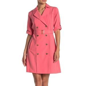 Sharagano Belted Double Breasted Pink Trench Dress